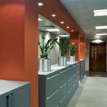 Orange and Grey Hallway